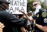 """به دنبال کشیده شدن اعتراضات به مرگ """"جورج فلوید"""" سیاهپوست به دست پلیس آمریکا به خیابانهای مقابل کاخ سفید، دفتر رسانهای این کاخ که محل تجمع خبرنگاران است، برای مدتی بسته شد."""